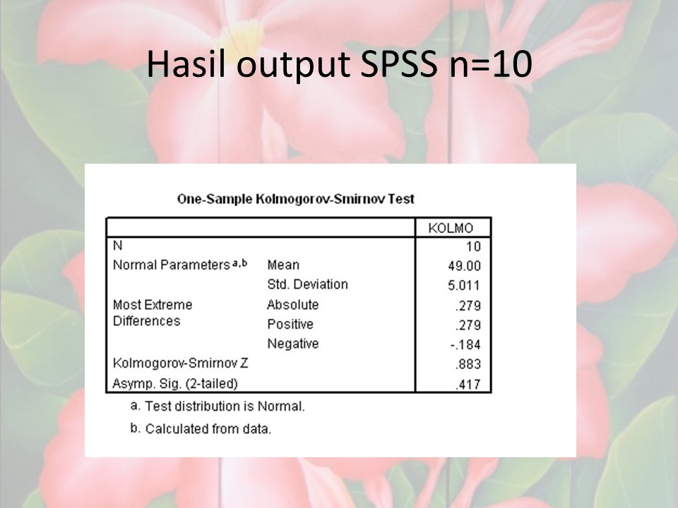 Hasil output SPSS n=10