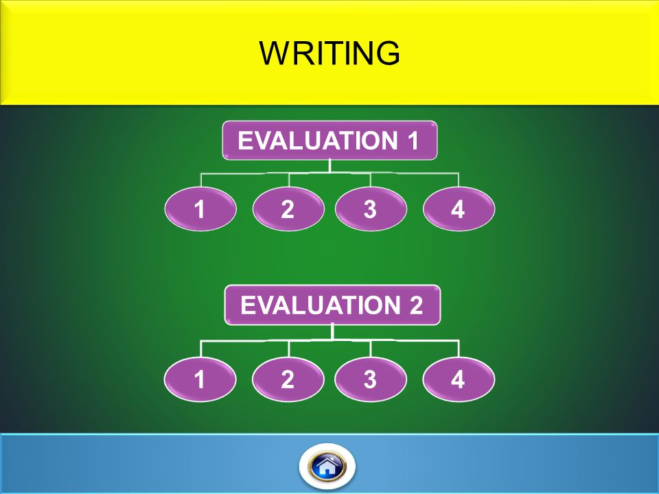 WRITING EVALUATION 1 1 2 3 4 EVALUATION 2 1 2 3 4
