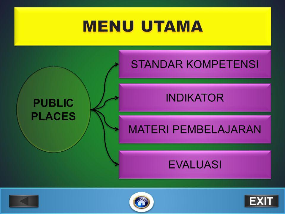 MENU UTAMA STANDAR KOMPETENSI PUBLIC PLACES INDIKATOR