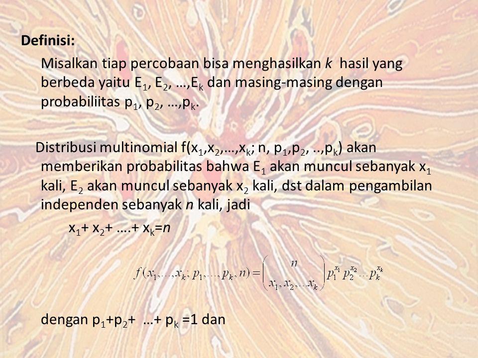 Definisi: Misalkan tiap percobaan bisa menghasilkan k hasil yang berbeda yaitu E1, E2, …,Ek dan masing-masing dengan probabiliitas p1, p2, …,pk.