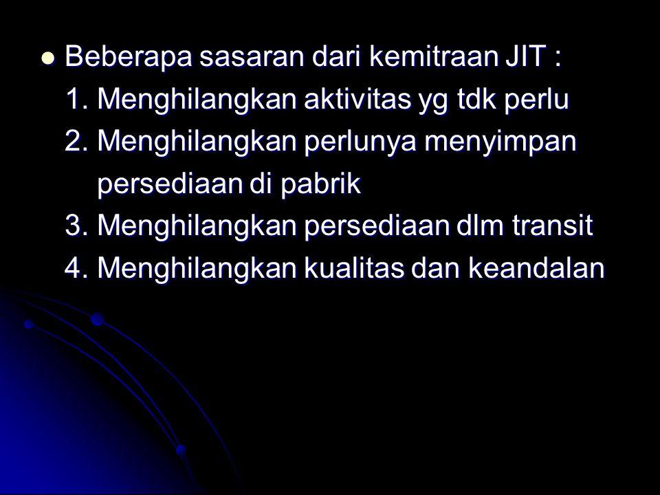 Beberapa sasaran dari kemitraan JIT :