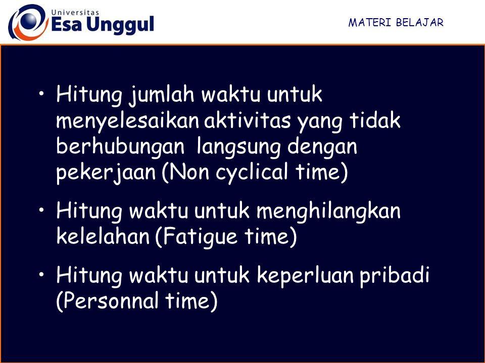 Hitung waktu untuk menghilangkan kelelahan (Fatigue time)