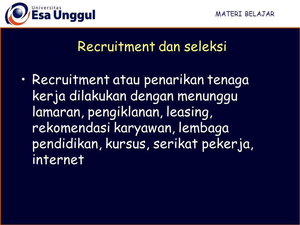 Recruitment dan seleksi