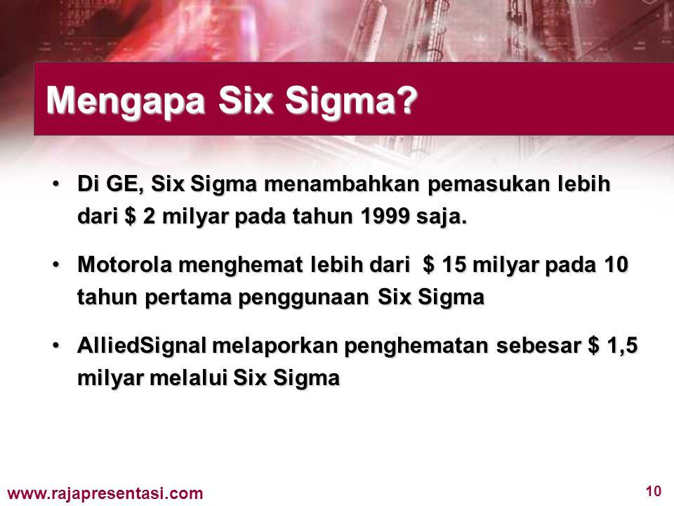 Mengapa Six Sigma Di GE, Six Sigma menambahkan pemasukan lebih dari $ 2 milyar pada tahun 1999 saja.