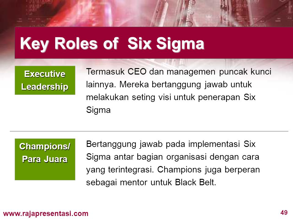 Key Roles of Six Sigma