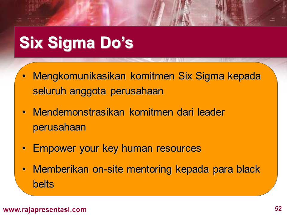 Six Sigma Do's Mengkomunikasikan komitmen Six Sigma kepada seluruh anggota perusahaan. Mendemonstrasikan komitmen dari leader perusahaan.