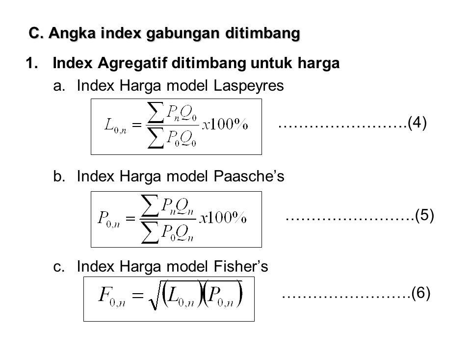 C. Angka index gabungan ditimbang