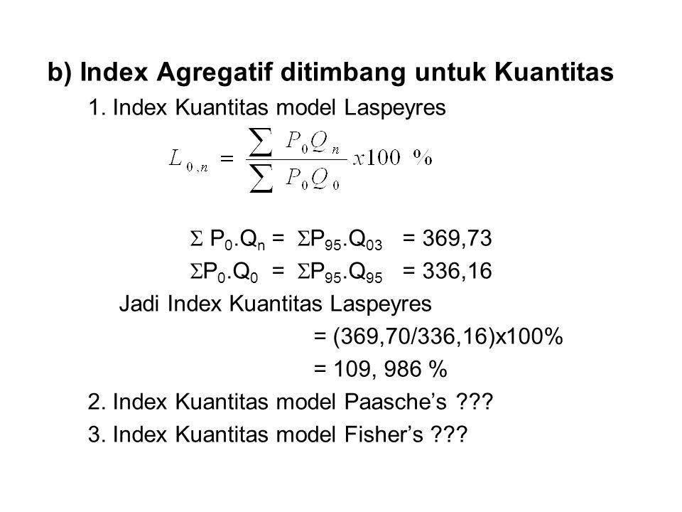 b) Index Agregatif ditimbang untuk Kuantitas