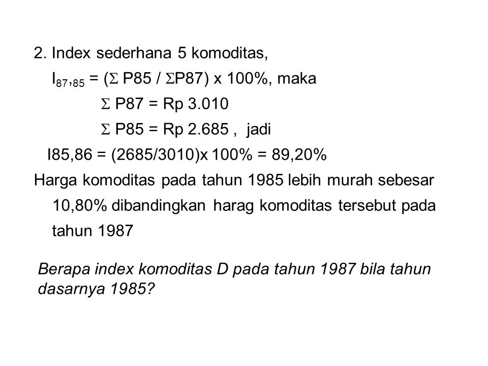 2. Index sederhana 5 komoditas,