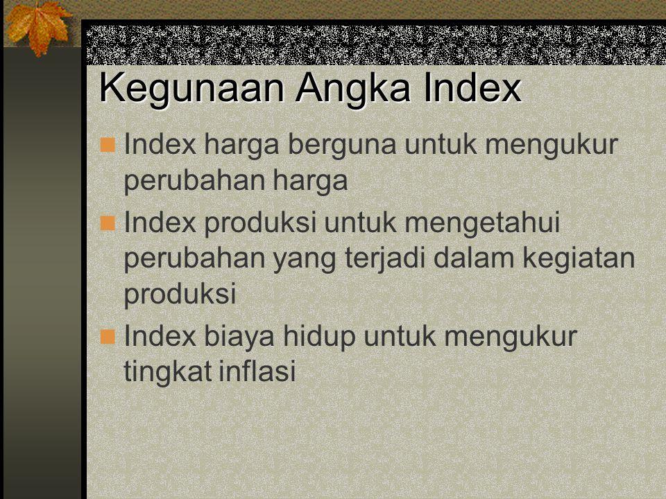 Kegunaan Angka Index Index harga berguna untuk mengukur perubahan harga.