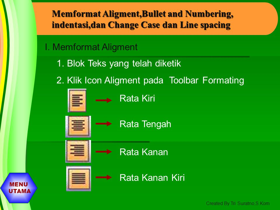 Memformat Aligment,Bullet and Numbering, indentasi,dan Change Case dan Line spacing