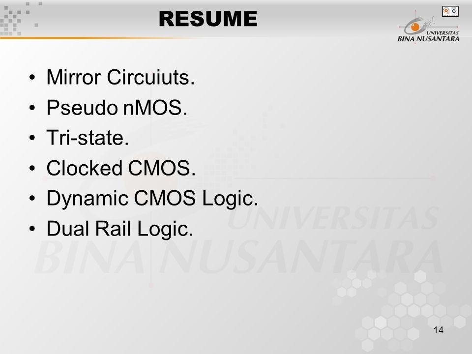 RESUME Mirror Circuiuts. Pseudo nMOS. Tri-state. Clocked CMOS. Dynamic CMOS Logic. Dual Rail Logic.