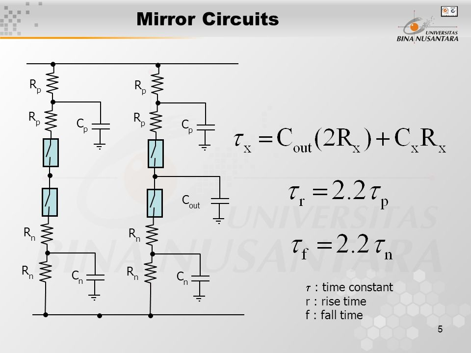 Mirror Circuits Rp Cp Cout Rn Cn  : time constant r : rise time