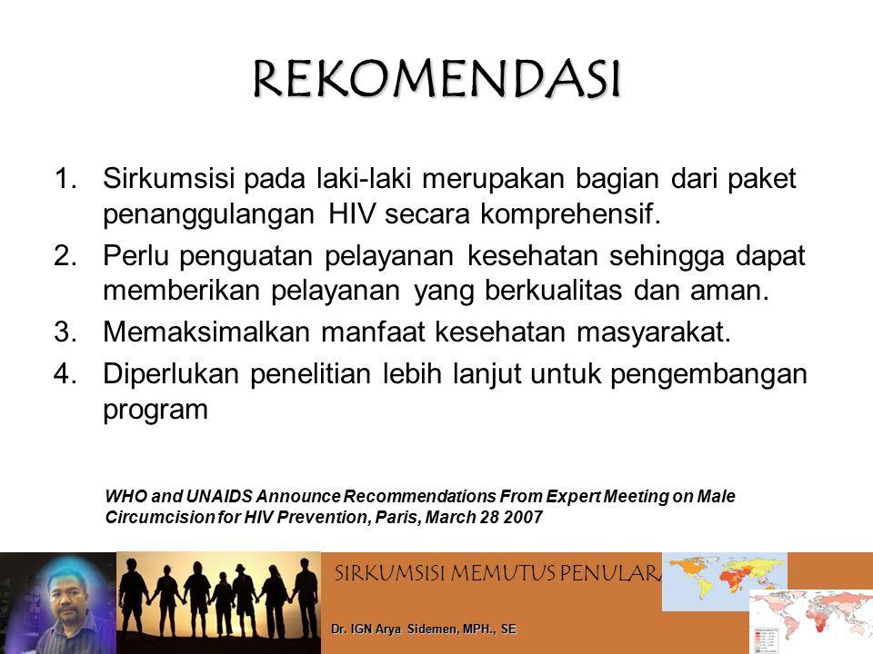 REKOMENDASI Sirkumsisi pada laki-laki merupakan bagian dari paket penanggulangan HIV secara komprehensif.
