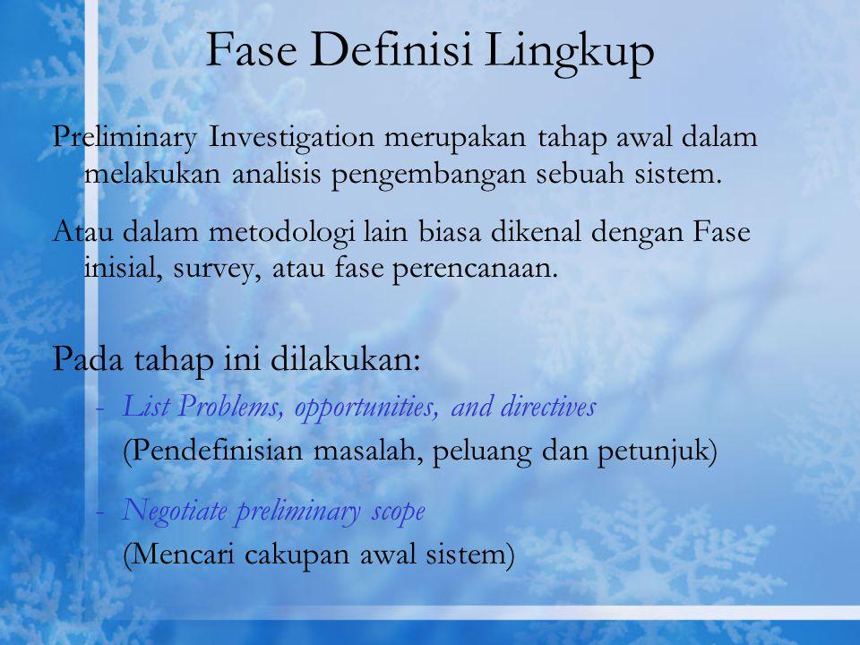 Fase Definisi Lingkup Pada tahap ini dilakukan: