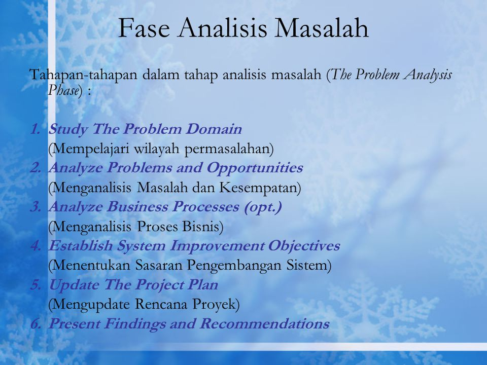 Fase Analisis Masalah Tahapan-tahapan dalam tahap analisis masalah (The Problem Analysis Phase) : Study The Problem Domain.