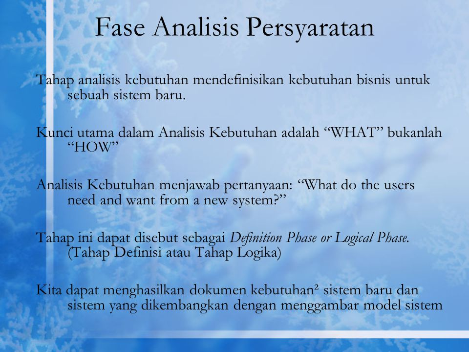 Fase Analisis Persyaratan