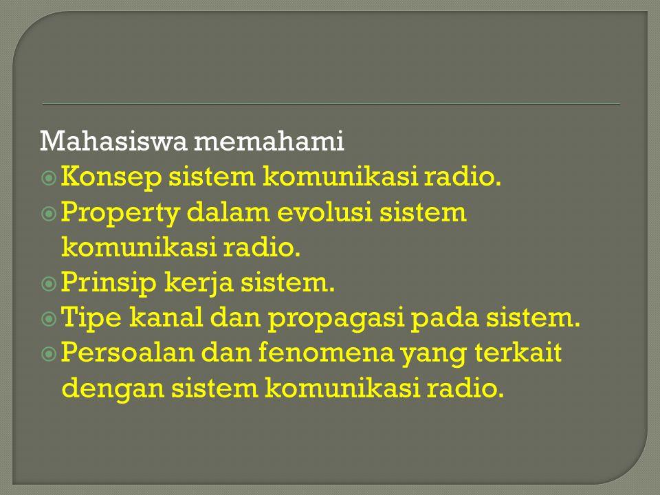 Mahasiswa memahami Konsep sistem komunikasi radio. Property dalam evolusi sistem komunikasi radio.