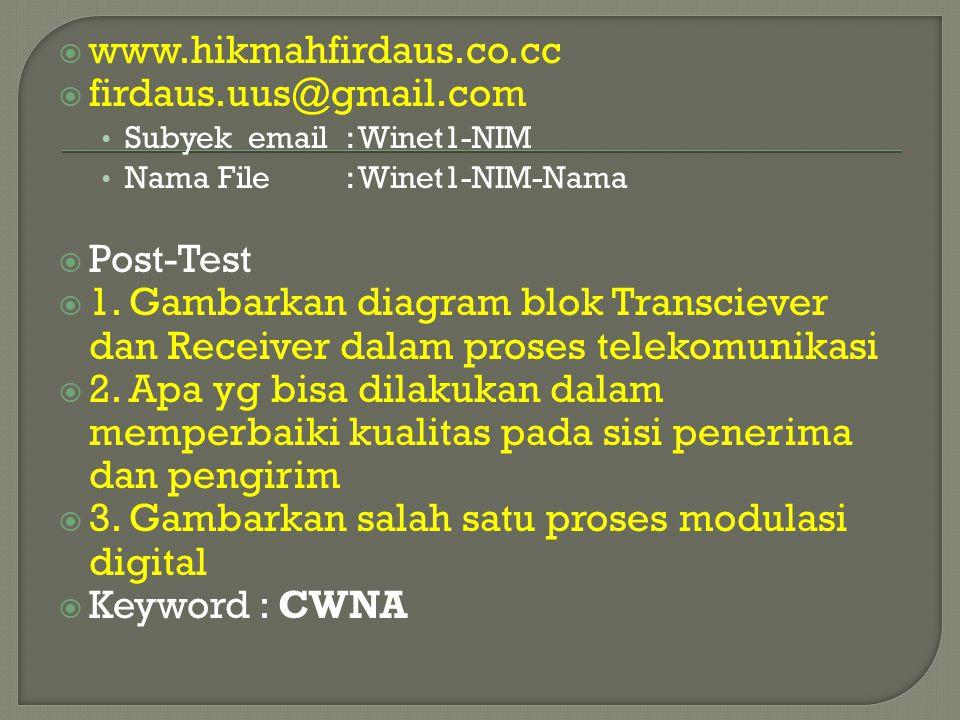 3. Gambarkan salah satu proses modulasi digital Keyword : CWNA