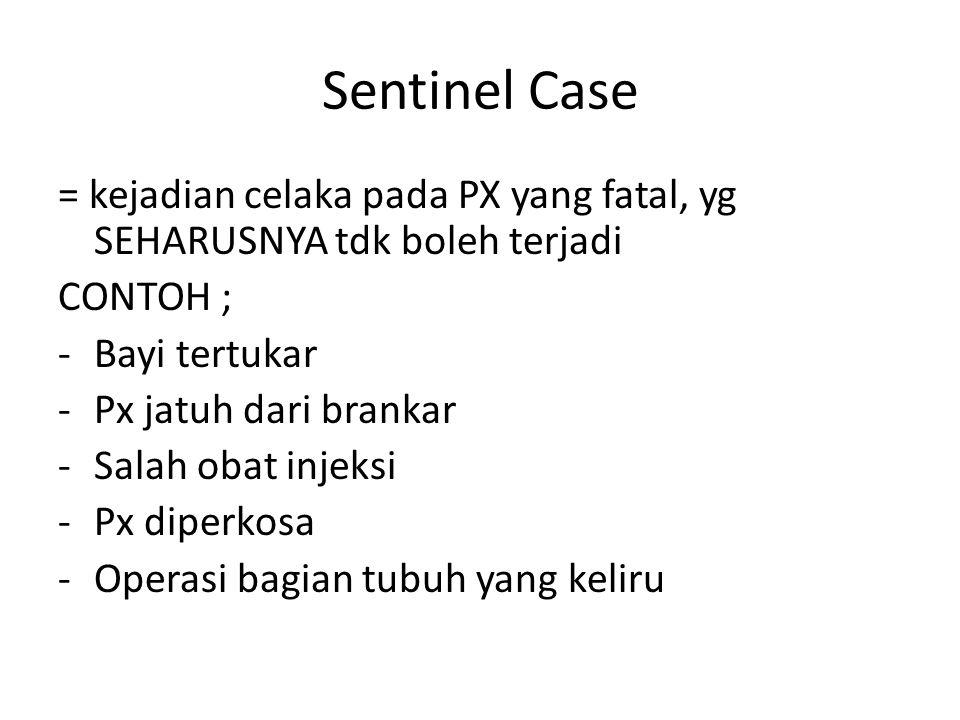 Sentinel Case = kejadian celaka pada PX yang fatal, yg SEHARUSNYA tdk boleh terjadi. CONTOH ; Bayi tertukar.