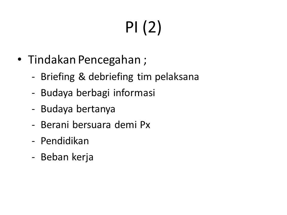 PI (2) Tindakan Pencegahan ; Briefing & debriefing tim pelaksana