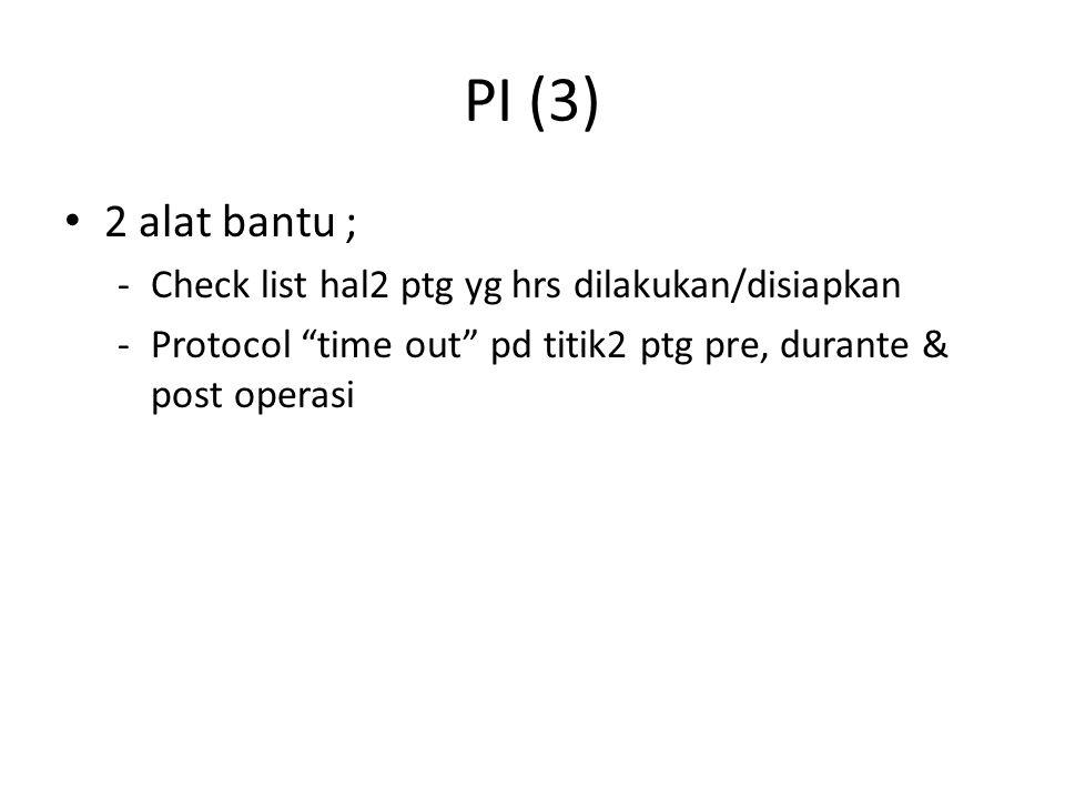 PI (3) 2 alat bantu ; Check list hal2 ptg yg hrs dilakukan/disiapkan