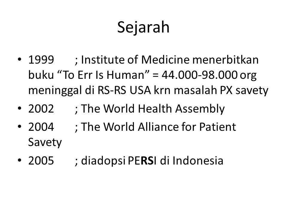 Sejarah 1999 ; Institute of Medicine menerbitkan buku To Err Is Human = 44.000-98.000 org meninggal di RS-RS USA krn masalah PX savety.