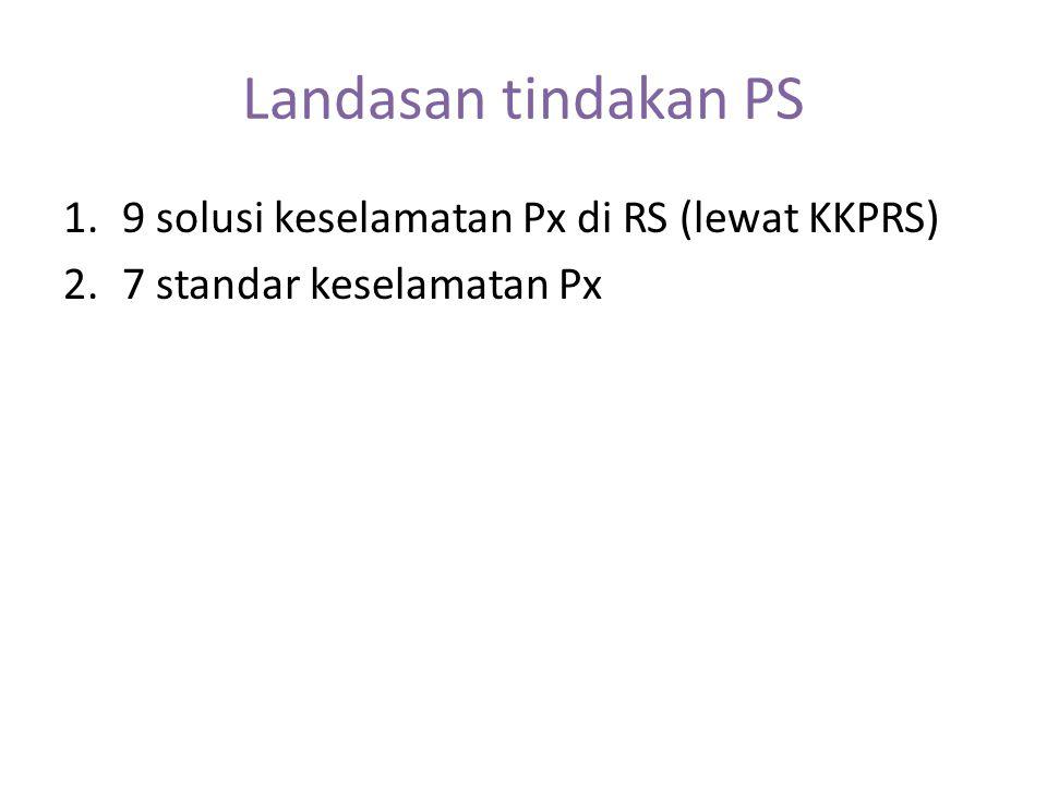 Landasan tindakan PS 9 solusi keselamatan Px di RS (lewat KKPRS)