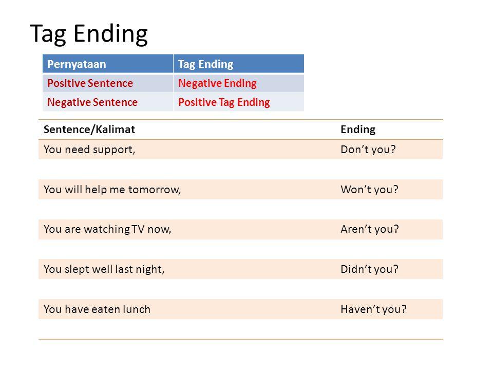 Tag Ending Pernyataan Tag Ending Sentence/Kalimat Ending