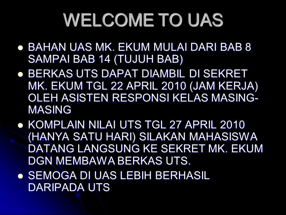 WELCOME TO UAS BAHAN UAS MK. EKUM MULAI DARI BAB 8 SAMPAI BAB 14 (TUJUH BAB)