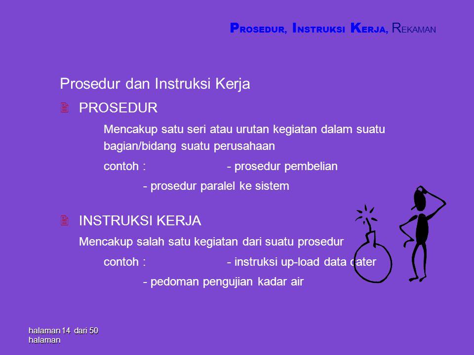 Prosedur dan Instruksi Kerja