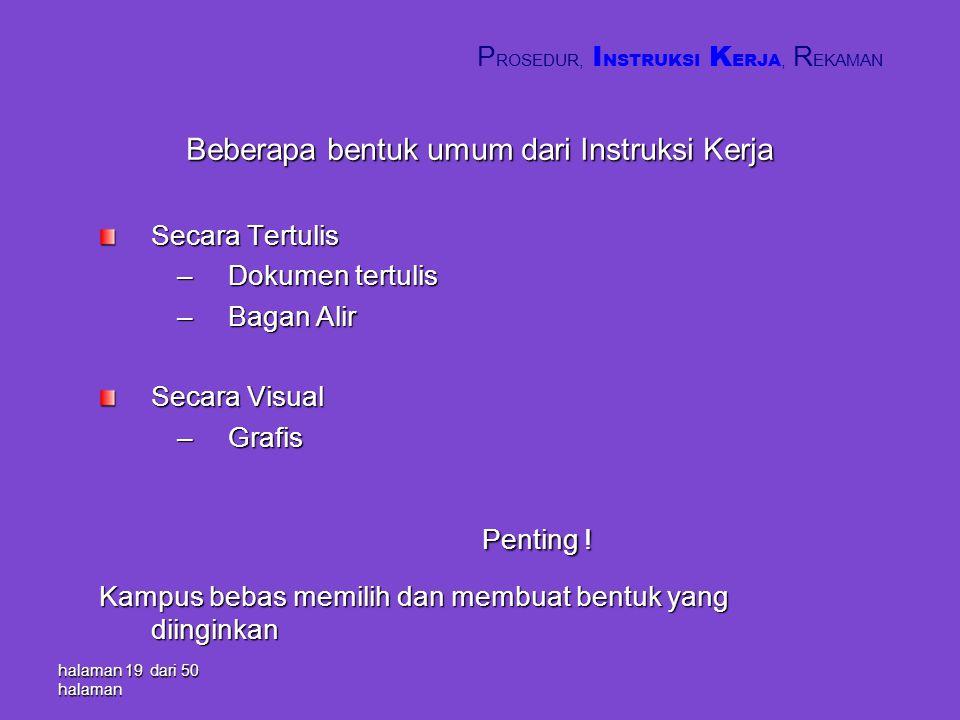 Beberapa bentuk umum dari Instruksi Kerja