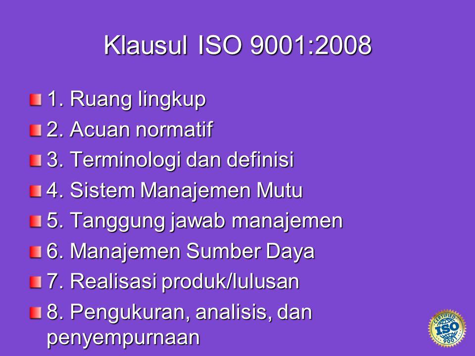 Klausul ISO 9001:2008 1. Ruang lingkup 2. Acuan normatif