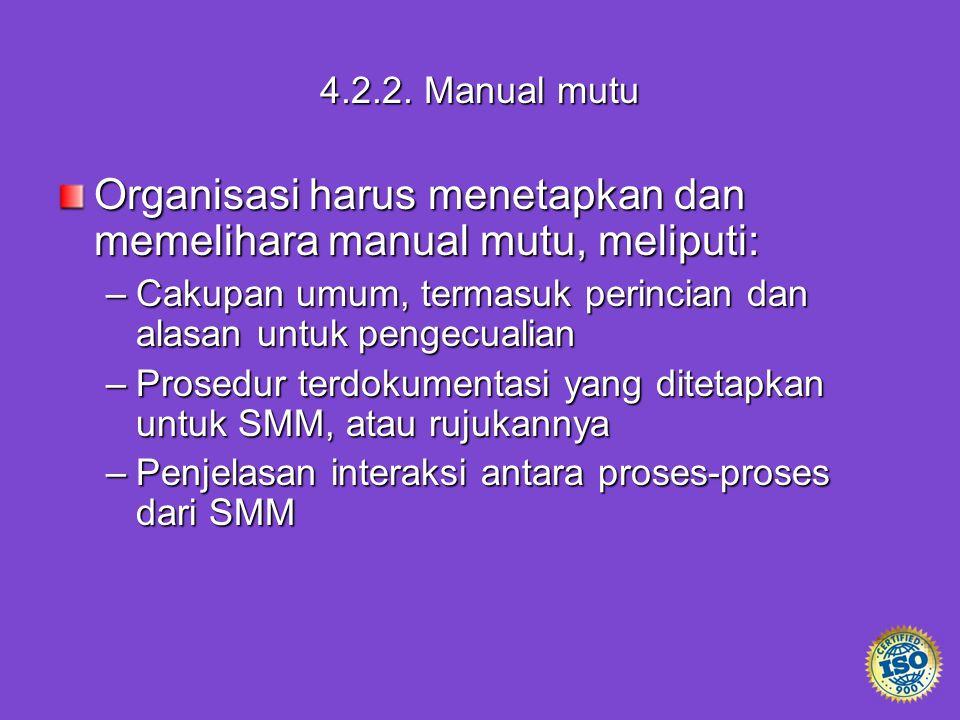 Organisasi harus menetapkan dan memelihara manual mutu, meliputi: