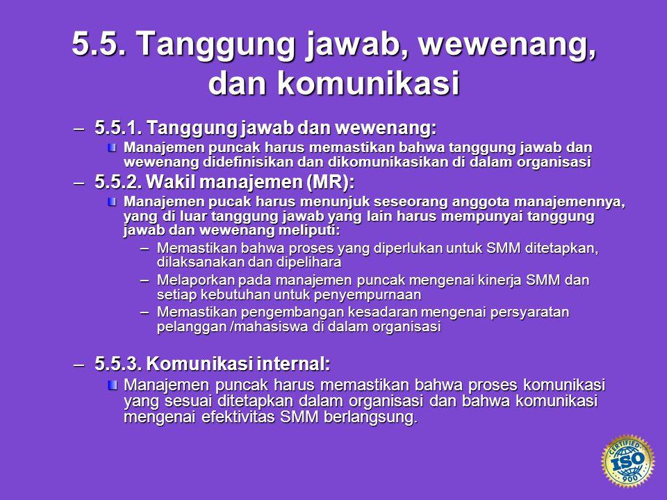 5.5. Tanggung jawab, wewenang, dan komunikasi