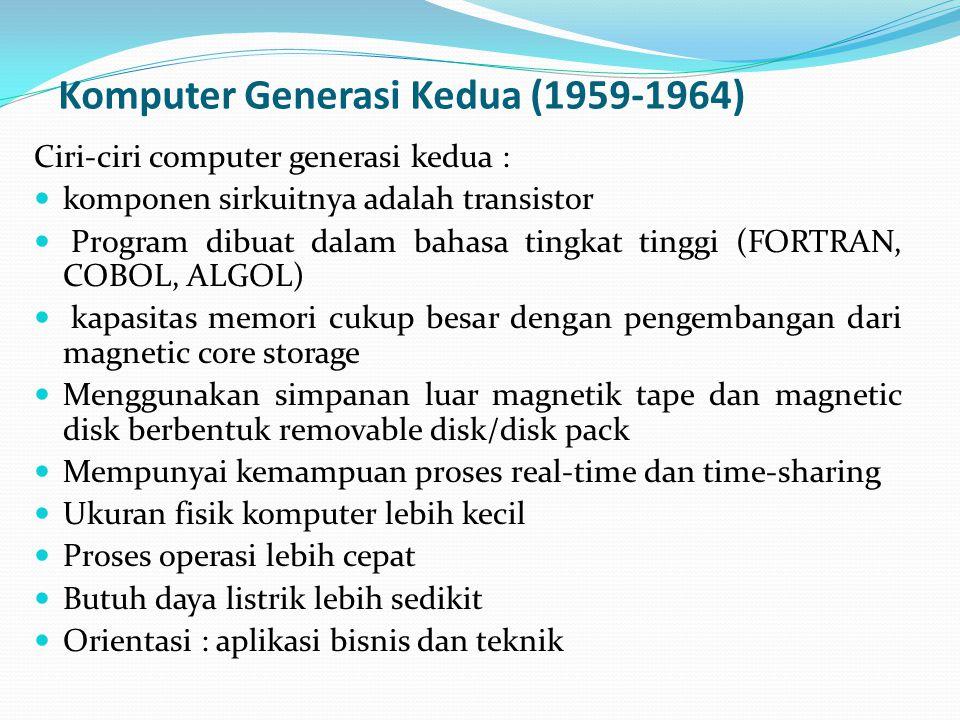 Komputer Generasi Kedua (1959-1964)