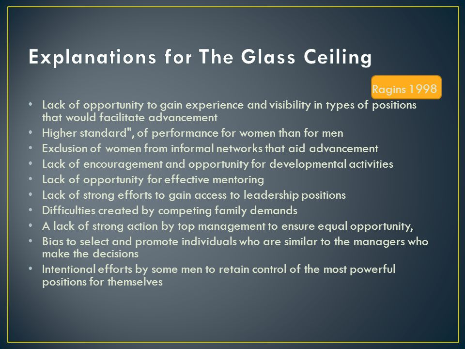 Explanations for The Glass Ceiling