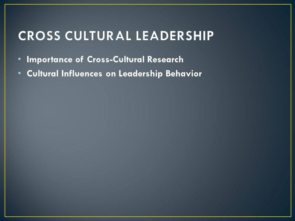 CROSS CULTURAL LEADERSHIP