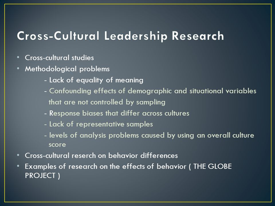 Cross-Cultural Leadership Research