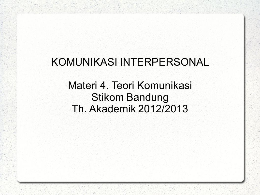 KOMUNIKASI INTERPERSONAL Materi 4. Teori Komunikasi Stikom Bandung
