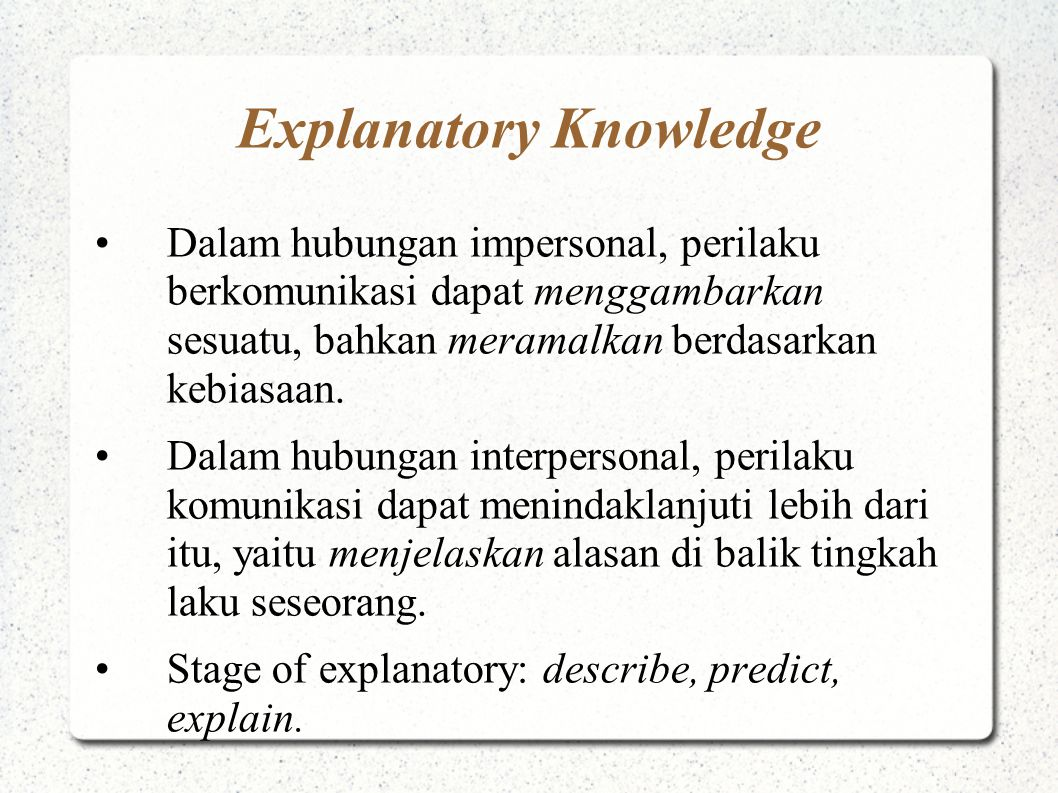 Explanatory Knowledge