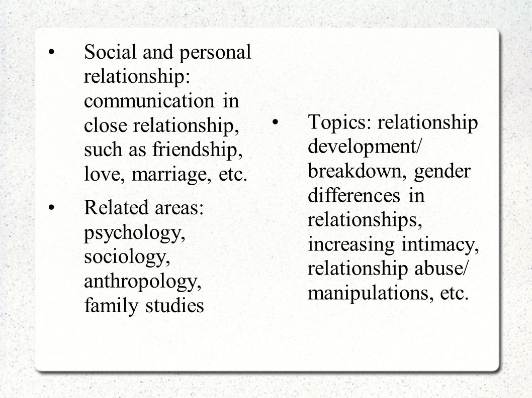 Social and personal relationship: communication in close relationship, such as friendship, love, marriage, etc.