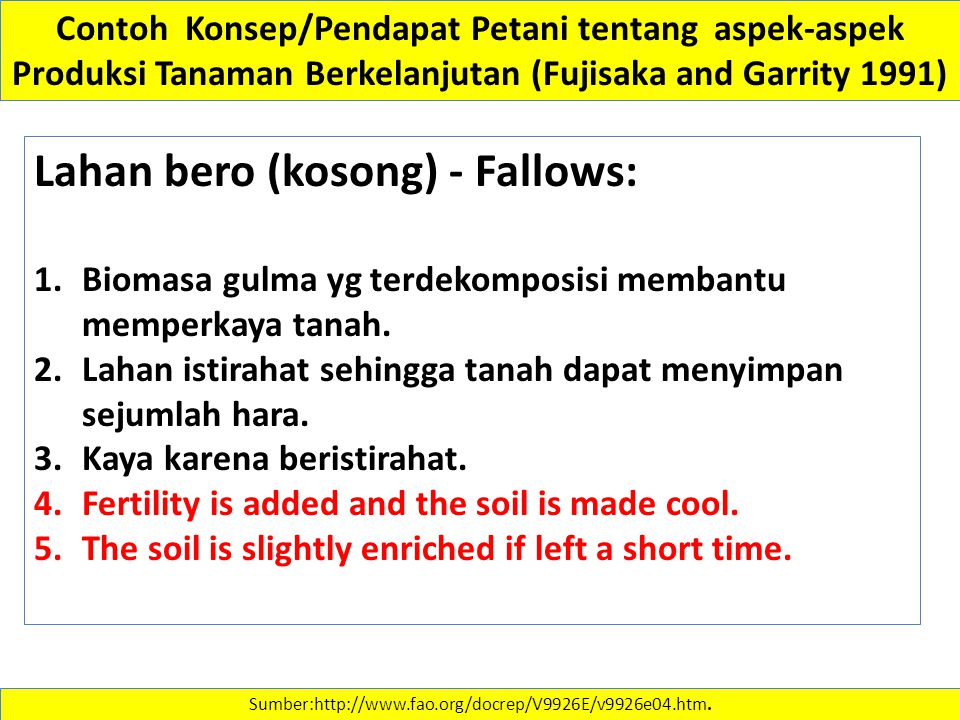 Lahan bero (kosong) - Fallows: