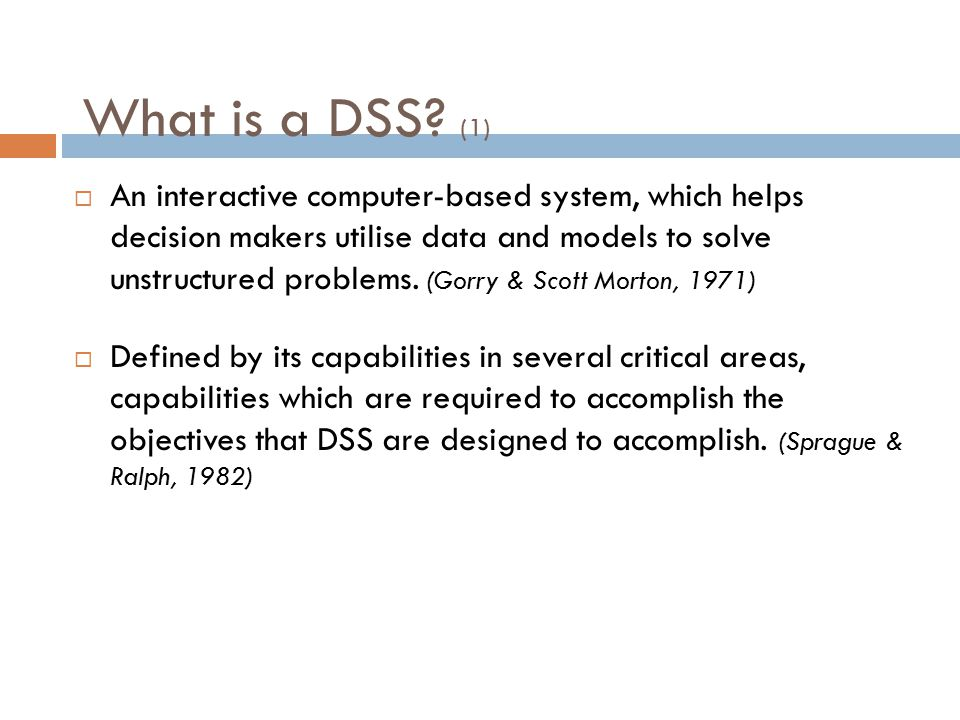 What is a DSS (1)