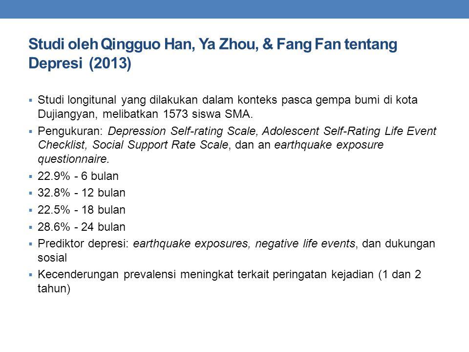 Studi oleh Qingguo Han, Ya Zhou, & Fang Fan tentang Depresi (2013)