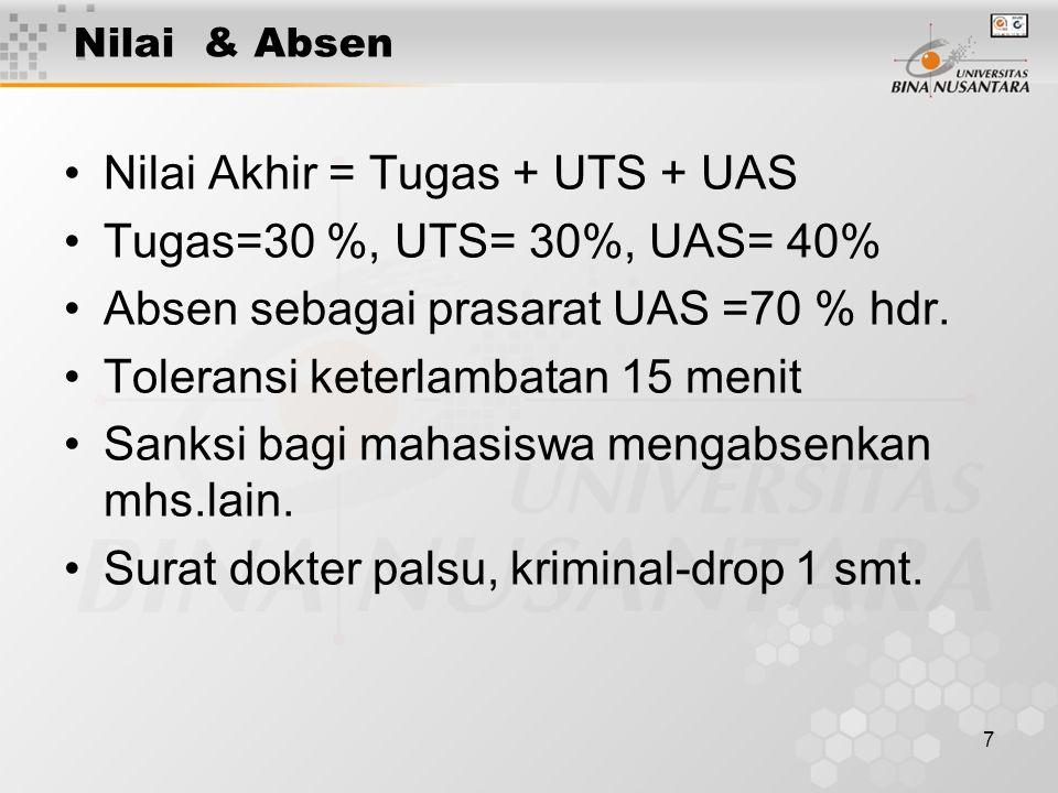 Nilai Akhir = Tugas + UTS + UAS Tugas=30 %, UTS= 30%, UAS= 40%