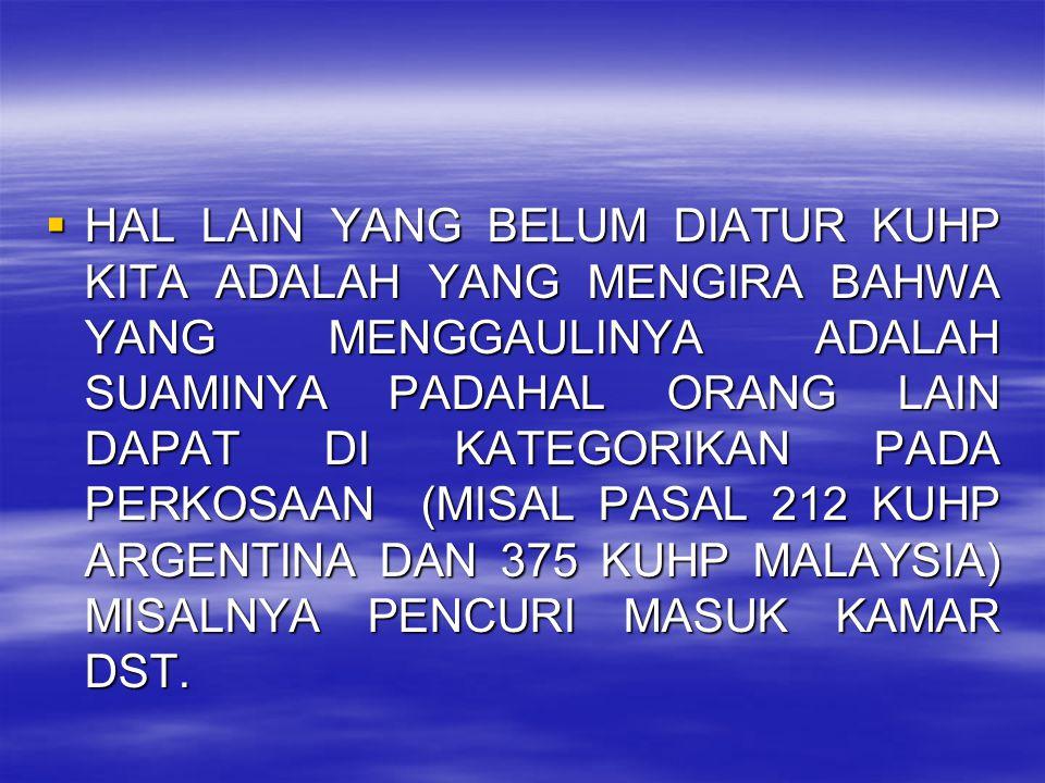 HAL LAIN YANG BELUM DIATUR KUHP KITA ADALAH YANG MENGIRA BAHWA YANG MENGGAULINYA ADALAH SUAMINYA PADAHAL ORANG LAIN DAPAT DI KATEGORIKAN PADA PERKOSAAN (MISAL PASAL 212 KUHP ARGENTINA DAN 375 KUHP MALAYSIA) MISALNYA PENCURI MASUK KAMAR DST.