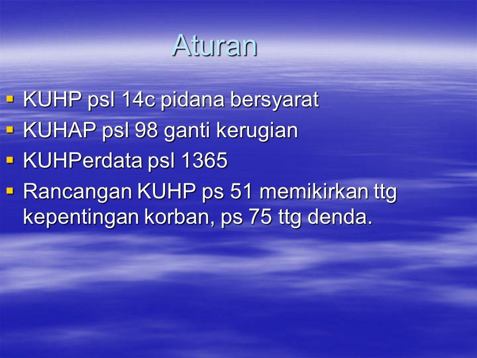 Aturan KUHP psl 14c pidana bersyarat KUHAP psl 98 ganti kerugian