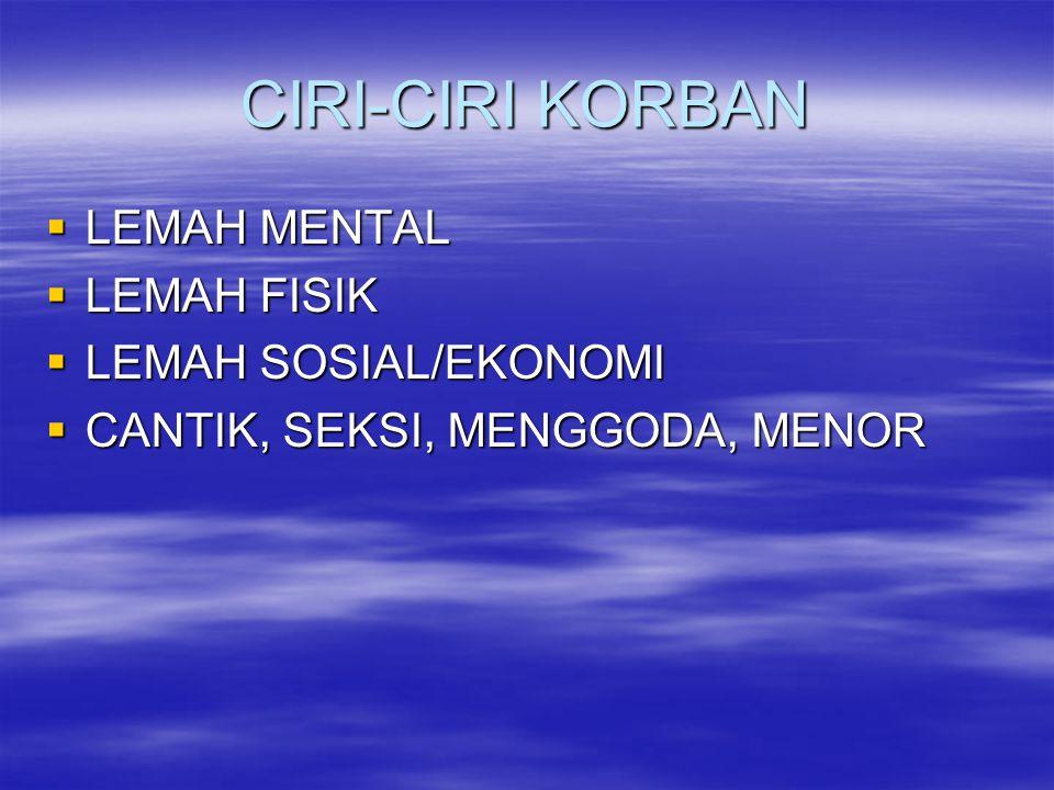 CIRI-CIRI KORBAN LEMAH MENTAL LEMAH FISIK LEMAH SOSIAL/EKONOMI