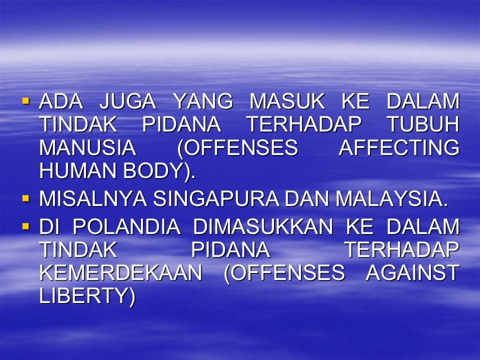 ADA JUGA YANG MASUK KE DALAM TINDAK PIDANA TERHADAP TUBUH MANUSIA (OFFENSES AFFECTING HUMAN BODY).